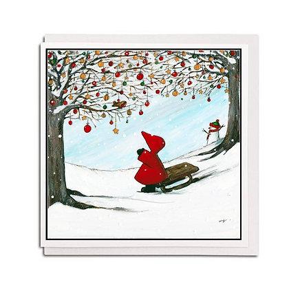 Christmas card: Red Hood ~ White Christmas