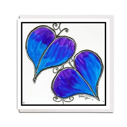 Greetings card: Glass design ~ Blue Leaf