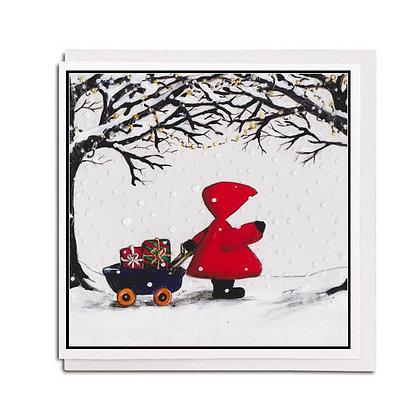 Christmas card: Red Hood ~ Little Wagon