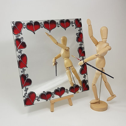 Square mirror: Red Leaf