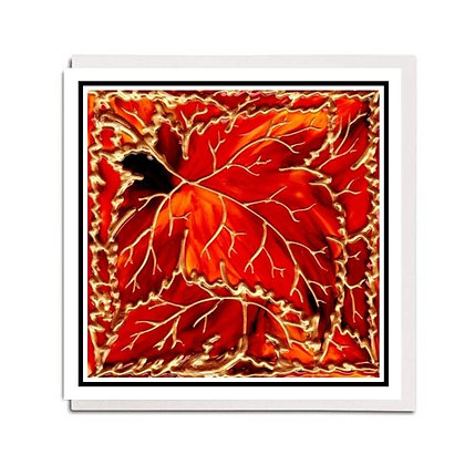Greetings card: Glass design ~ Autumn Leaves