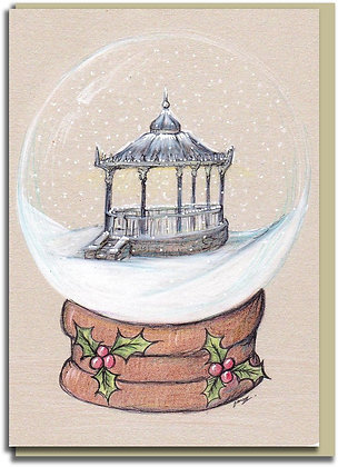 Eco Christmas card: Snowglobe ~ Hexham Bandstand