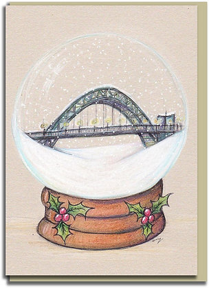 Eco Christmas card: Snowglobe ~ Tyne Bridge