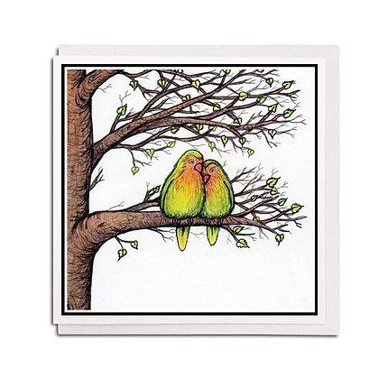 Greetings card: Lovebirds