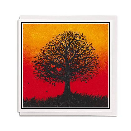 Greetings card: Two Hearts Tree