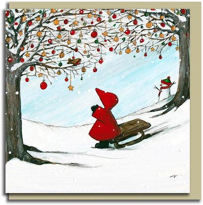 Eco Christmas card: Red Hood ~ White Christmas