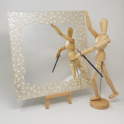 Square mirror: White Swirl