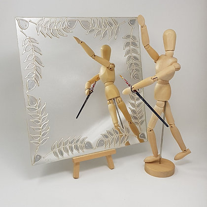 Square mirror: Silver Leaves