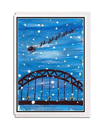 Christmas card: Santa at the Tyne Bridge