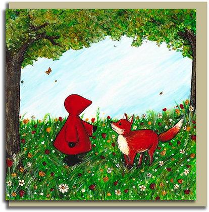 Eco Greetings card: Red Hood ~ Hello, Mr Fox
