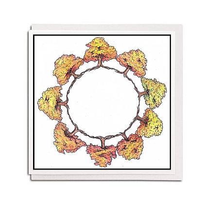 Greetings card: Autumn Tree circle