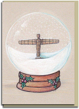 Eco Christmas card: Snowglobe ~ Angel of the North