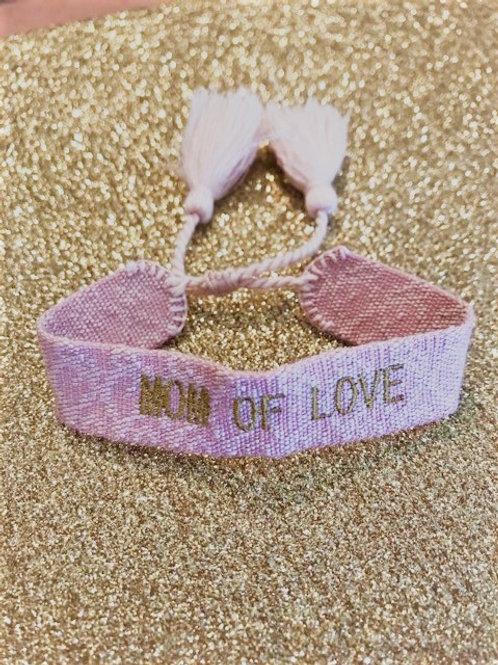 Bracelet Tissé - MUM OF LOVE - Rose