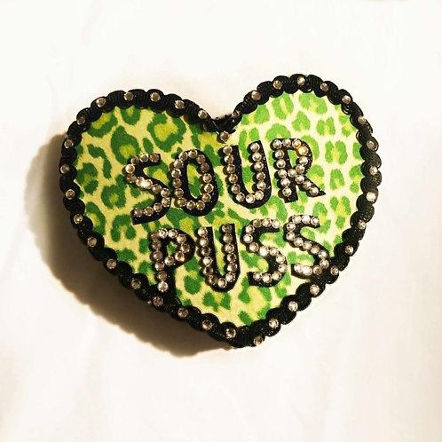 SOUR PUSS - Anti-Conversation Pillbox Heart Hat