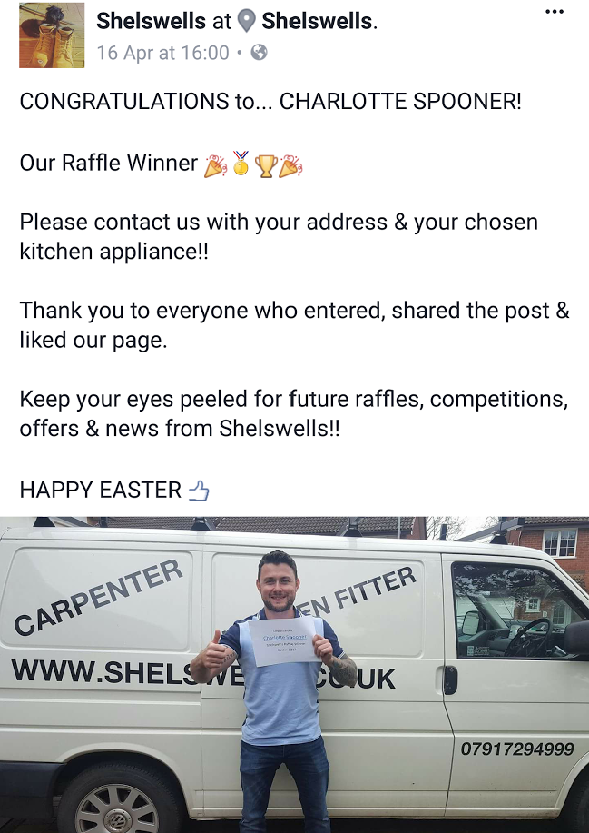 Shelswells Facebook Kitchen Appliance Raffle Winner