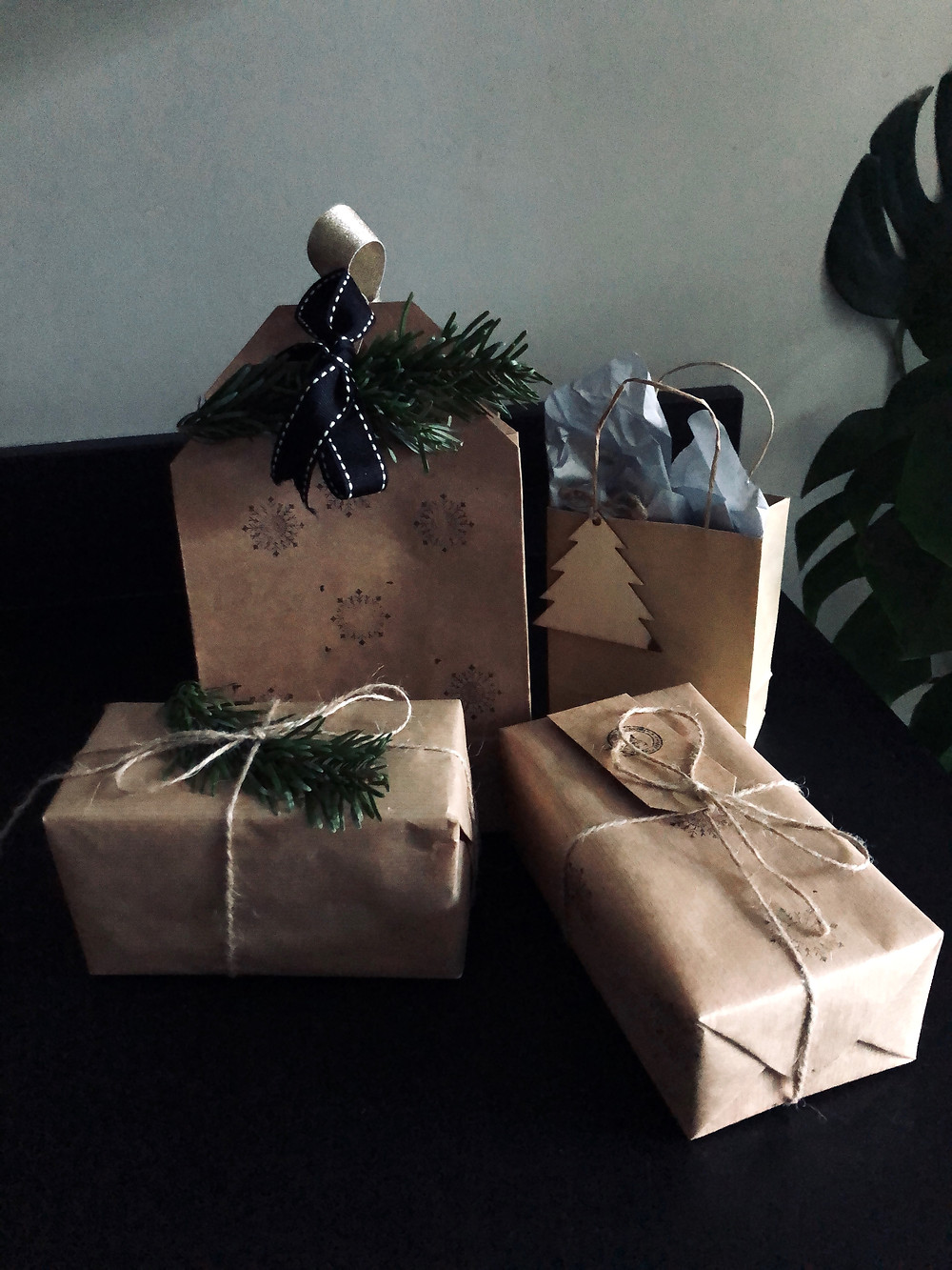 Sustainable Christmas Gift Wrapping - brown paper, twine, rosemary