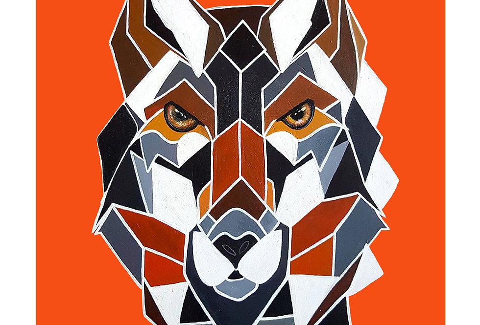 Geo Wolf Print