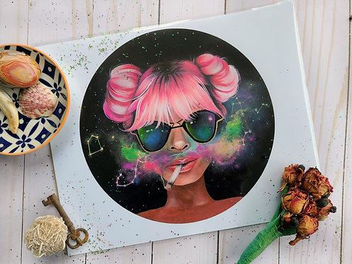 Galaxy Girl Print
