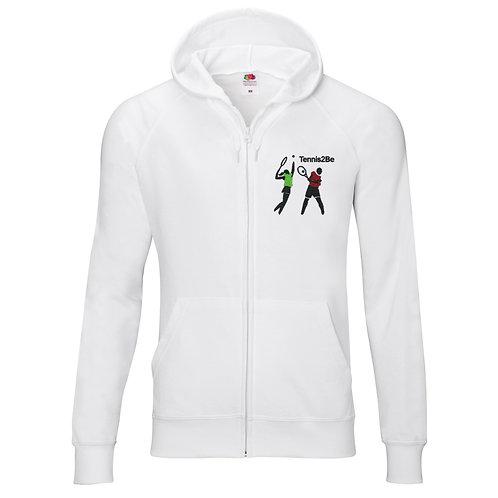 Tennis2Be white, light zip-up hoodie