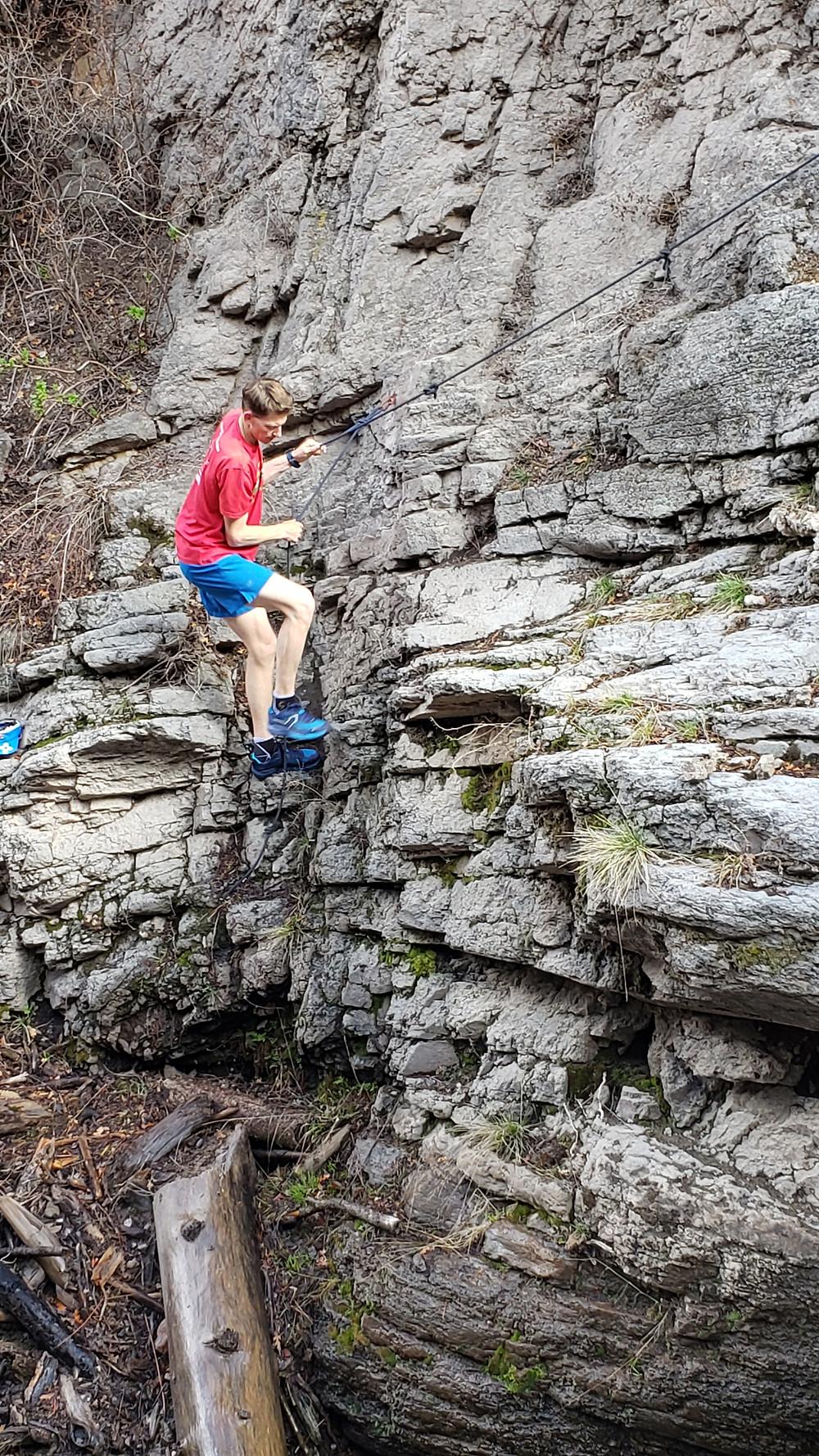 The short climb up to the ledge