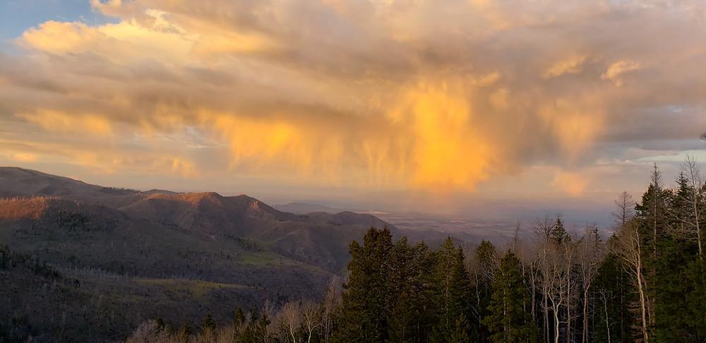 Sunset colors at Pajarito Mountain, May 14, 2019