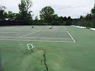 Before MTJ Sports Tennis Court Crack Repair