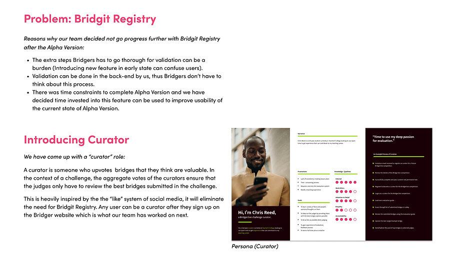 Problems of Bridgit Registry, Introducing Curator