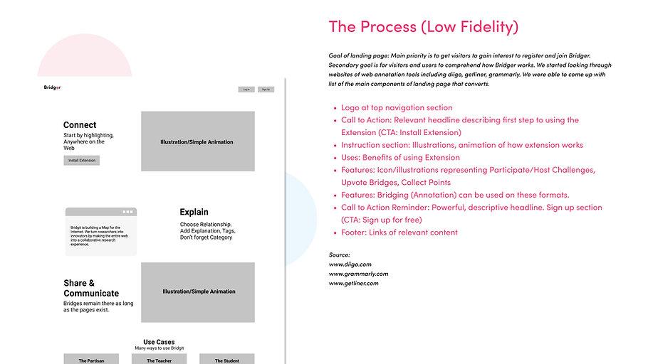 Bridger Landing Page Low Fidelity