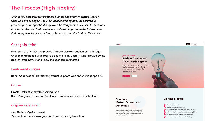 Bridger Landing Page High Fidelity