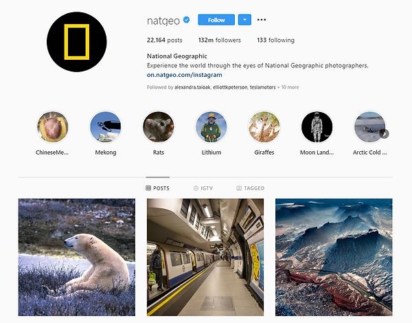 National Geographic Instagram Channel Desktop Version