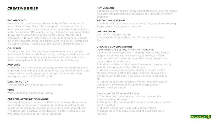 Dollarama Rebrand Creative Brief