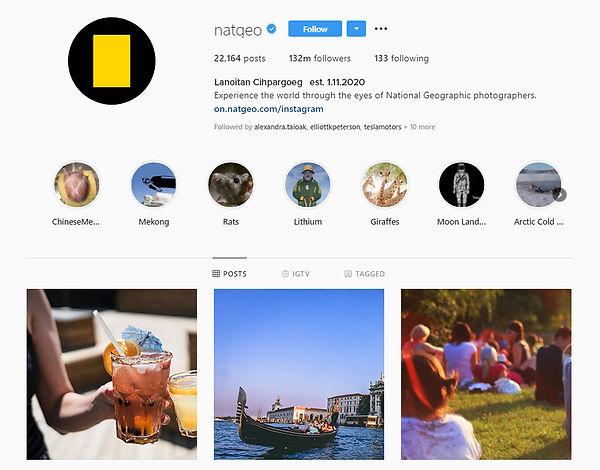 National Geographic Instagram Channel Desktop Version After Takeover