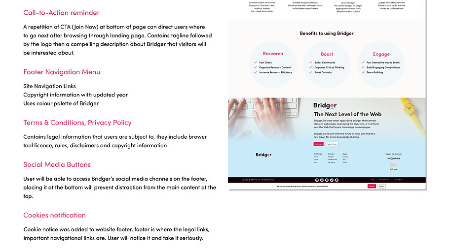 Bridger Landing Page High Fidelity continued