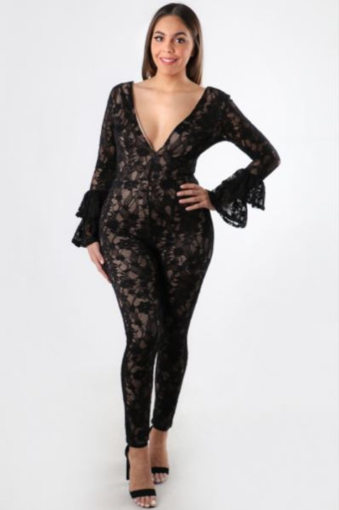 LACE ME ALL OVER JUMPSUIT