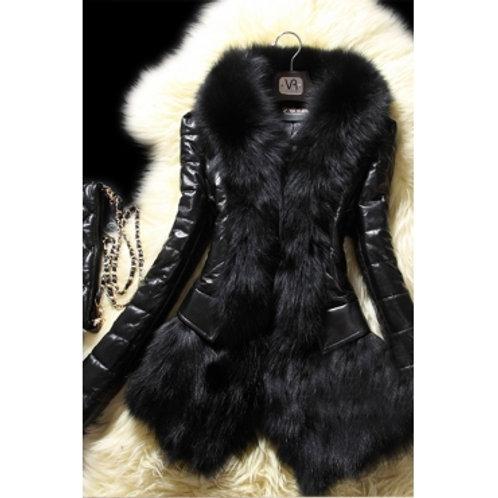 Perfect Fit Long Sleeves Black Faux Fur Coat