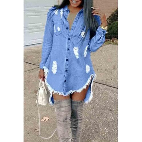 Missy High-Low Denim Dress