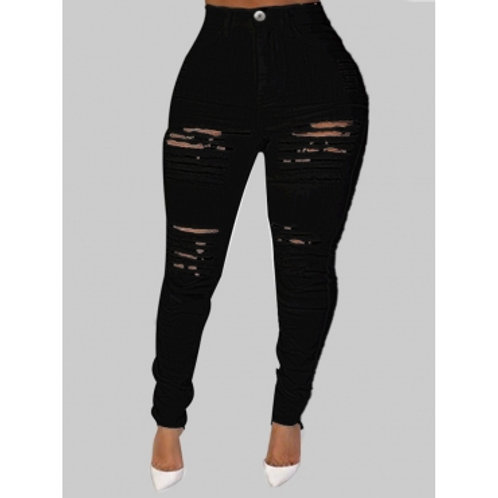 Chic Distressed Hollow-out Black Plus Size Jeans