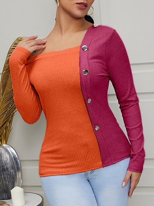 She Chic Stitched Button Sweater
