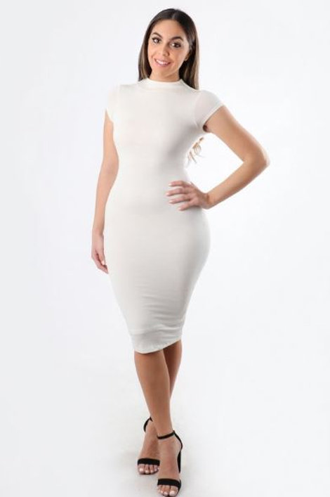 PERFECT FIT CAP SLEEVE BODYCON DRESS
