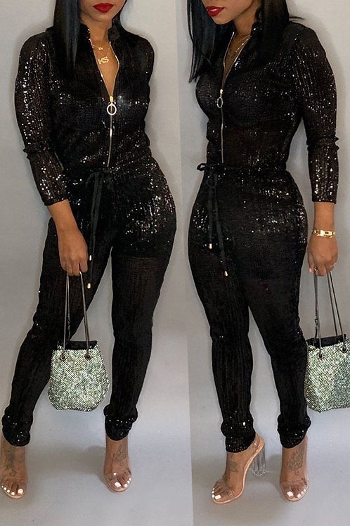 Shine For Chic Zipper Design One-piece Jumpsuit