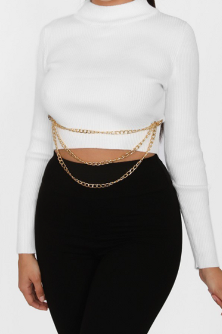 JESS CROP RIBBED CHAIN SWEATER TOP