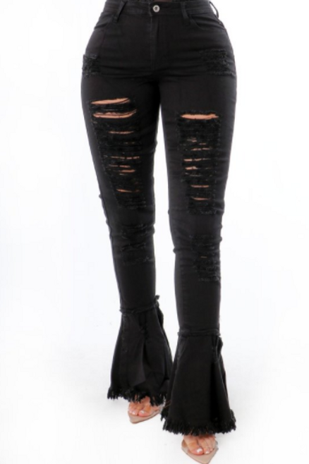 Black Distressed Wide Leg Pants