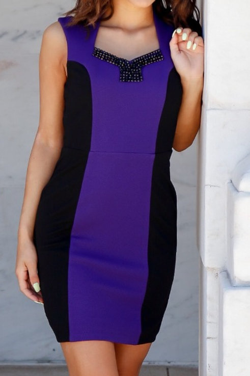 CHIC STUDDED ACCENT DRESS