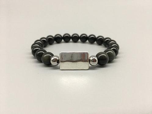 8mm Obsidian & Rectangular Tibetan Zinc Bead