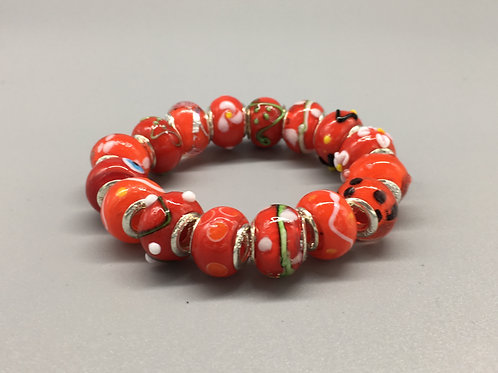 Red Childs Murano Style Glass Beaded Bracelet