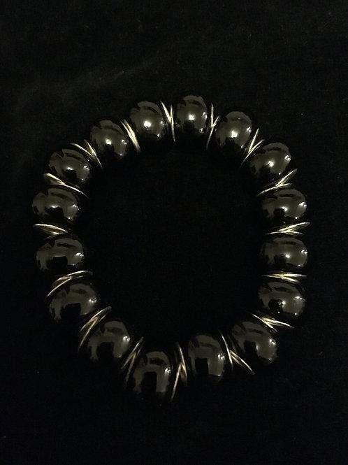 Plain Black Childs Lampwork Glass Beaded Bracelet
