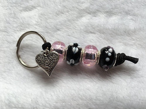 Pink & Black Murano Style Glass Beaded Keyring/Bag Charm