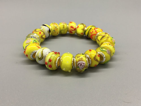 Yellow Womans Murano Style Glass Beaded Bracelet