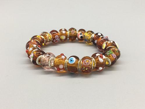Golden Brown Womans Murano Style Glass Beaded Bracelet