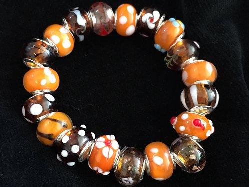 Orange & Purple Womans Murano Style Glass Beaded Bracelet